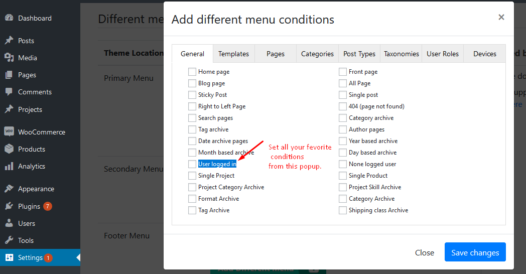 Add different menu conditions